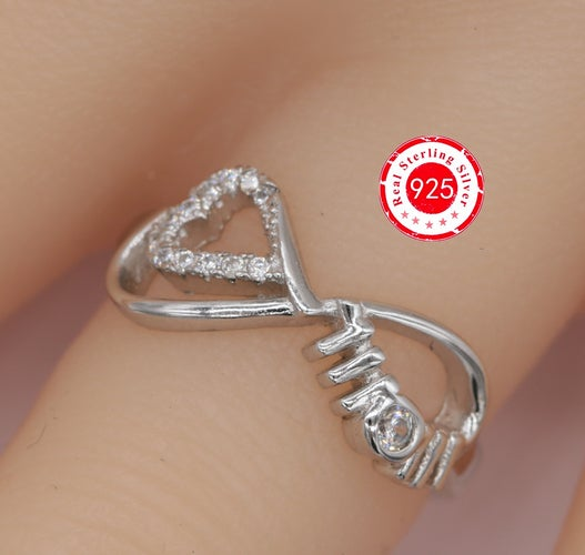 .925 Sterling Silver Mom & Infinity Ring--106