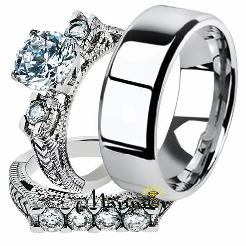His & Her 3pc Stainless Steel 2.95 Ct Cz Bridal Ring Set & Men Beveled Edge Band