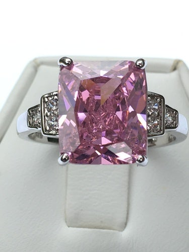 Rose Zircon & Silver Overlay Ring. Size 7,8 or 9 please.