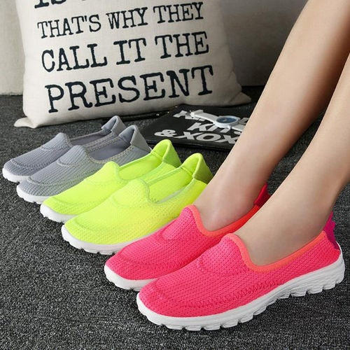 Breathable Women Slip On Walking Flat Shoes Training Sneakers Sports Gym Running