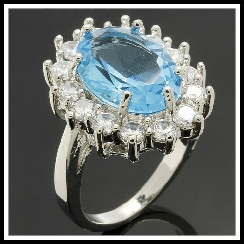 14k White Gold Filled, Beautifully Created Fine Sky Blue Topaz & White Sapphire Ring SM9019