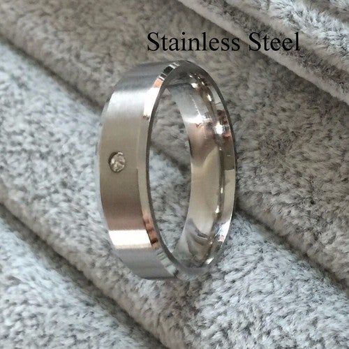 Men Women Brushed 316L Stainless Steel 6mm Silver Wedding Engagement Band  Ring