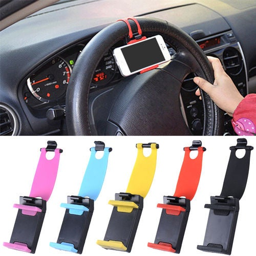 Universal Adjustable Car Steering Wheel Phone Mount Holder For iPhone/LG/Huawei