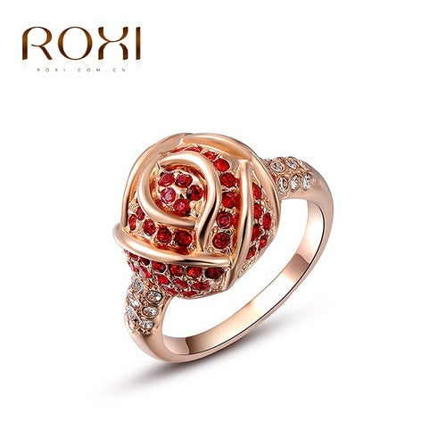 Austria Crystal Rose Gold Rose Red Ring