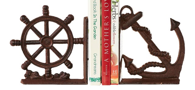 Nautical Ships Wheel and Anchor Set of Bookends Cast Iron