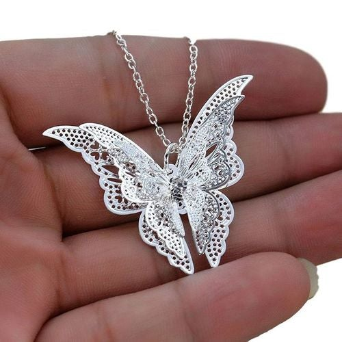 Elegant Silver Plated Butterfly Necklace