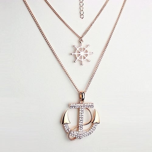 Anchors Away Pendant Double Chain Necklace