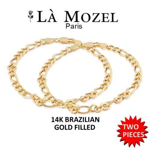 """2 Pieces Gift Set: Handcrafted 14K Brazilian Yellow Gold Filled Flat Figaro 4MM Chain Bracelet - 8"""""""