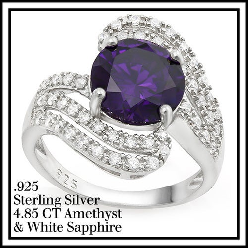 Solid .925 Sterling Silver w/18k White Gold 4.85ct Amethyst and White Sapphire Ring Glamssil8875