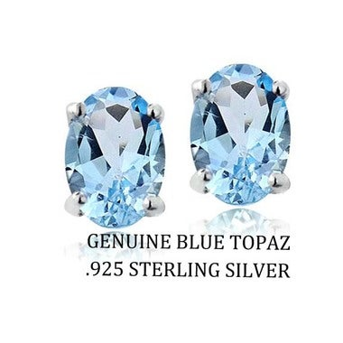 2.00 CTTW .925 Sterling Silver Genuine Oval 7x5 Blue Topaz Stud Earings