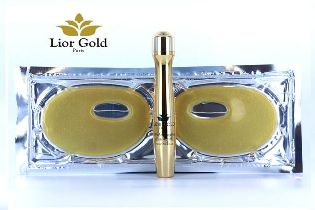 Lior Gold Paris 24K Anti Aging Eye Mask (6pair) and Eye Roller set