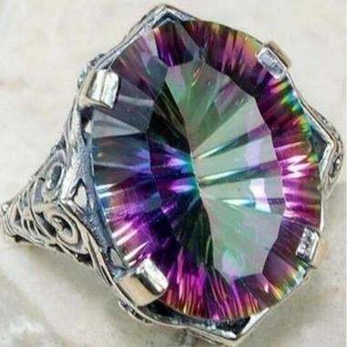 925 Sterling Silver Women Rainbow Fire Mystic Ring Wedding Engagement Jewelry Ri
