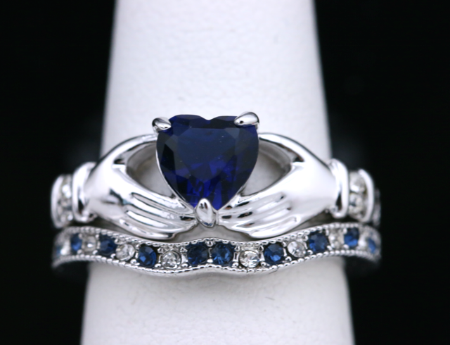 Blue CZ Claddagh Ring Set #783