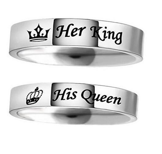 Couple Rings HIS QUEEN HER KING Stainless Steel Rings Chic Jewelry