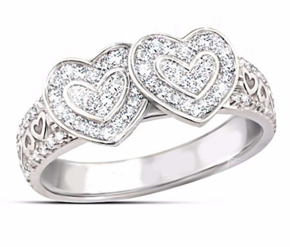 Forever Love Double Hearts Micro Paved CZ Ring #TH514