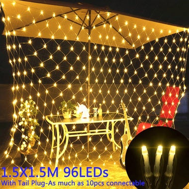 1.5X1.5M 96LED LED Net Mesh String Light Outdoor Waterproof AC110V Chirstmas Wed