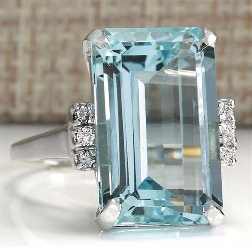 Concise 3 CTW Square Cut Natural CZ Wedding Ring