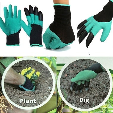 Hot Garden GENIE Gloves For Digging&Planting with4 ABS Plastic Claws Gardening (