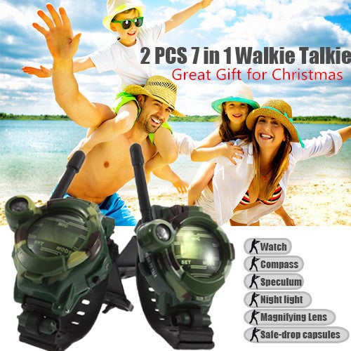 Great Gift for Christmas 7in1 Walkie Talkie Watch 150 Meters Range Wrist Watch Walkie-talkie
