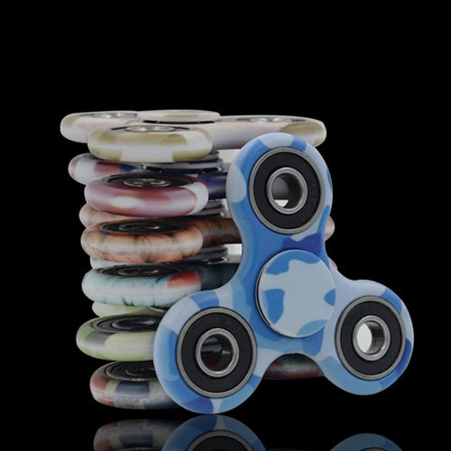 Camouflage Tri Hand Spinner Finger Spin Home Office Desk Toy Stress Reducer