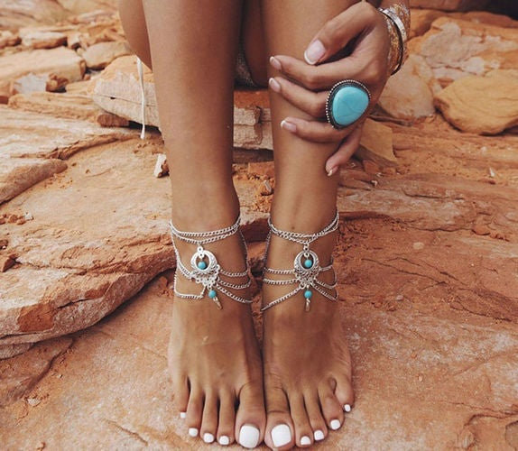 1 pc Multilayer  Silver and Turquoise Tassel Foot Chain Anklet Bracelet With Beads
