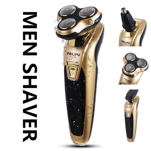 CN Men's Rechargeable Electric Shaver Triple Rotary Heads (GOLD/BLACK) FS3188