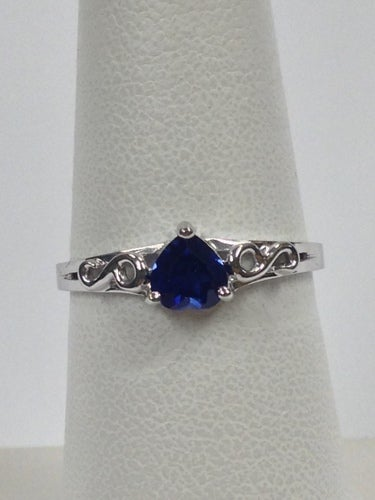 Created Heart Shape Sapphire Ring 925 Sterling Silver