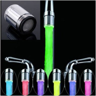 LED Water Faucet Stream Light 7 Colors Changing Glow Shower Tap Head Kitchen Pre