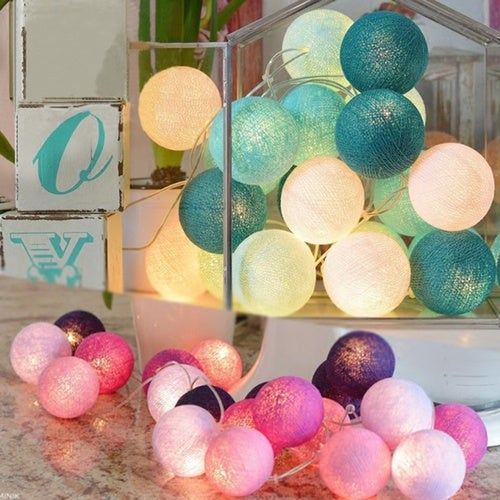 Mixed 20 White-Pink-Gray Cotton Ball String Lights for Patio Wedding Party