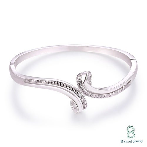 18K White Gold Plated & 0.10CTTW Diamond Accent Bypass Bangle
