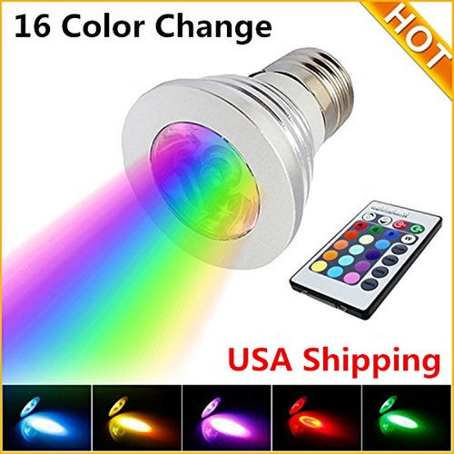 LED Bulb 16 Color Change Lamp Spotlight for Home Party Decoration with IR Remote