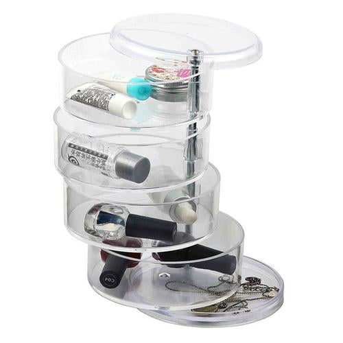 Home Basics MH49522 4-Section Swivel Makeup Jewelry Organizer Tray, Clear