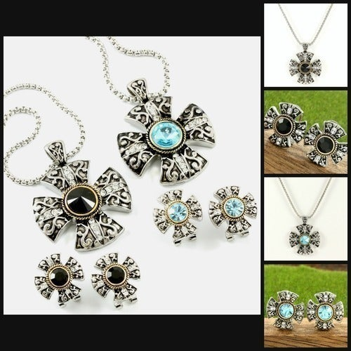 Two-Tone 14k Gold Over High End Jewelry Alloy with Beautifully Created Onyx or Blue Topaz Necklace and Earrings Set ( Please Choose One at Checkout) QCC