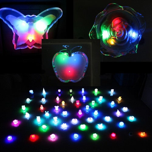 1Pcs LED Colorful Bedside Night Light Lamp Room Decorate-Rose Shape