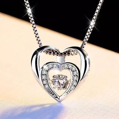 18K white gold filled Double heart necklace for women