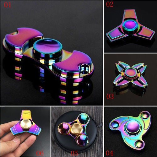 New Plating Colorful Rainbow EDC Fidget Hand Spinner Wheel Zinc Alloy Bearing Gift
