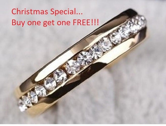 Christmas Special... BUY ONE GET one FREE!!!! Stainless steel eternity band size 4-13
