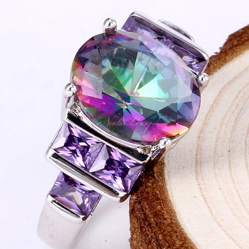 Gorgeous Rainbow Topaz & Amethyst  Sterling Silver 925 Ring