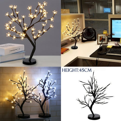 Battery operated 48LEDs LED Cherry Blossom Desk Top Bonsai Tree Light Perfect for Festival Home Party Wedding Indoor Outdoor Decoration