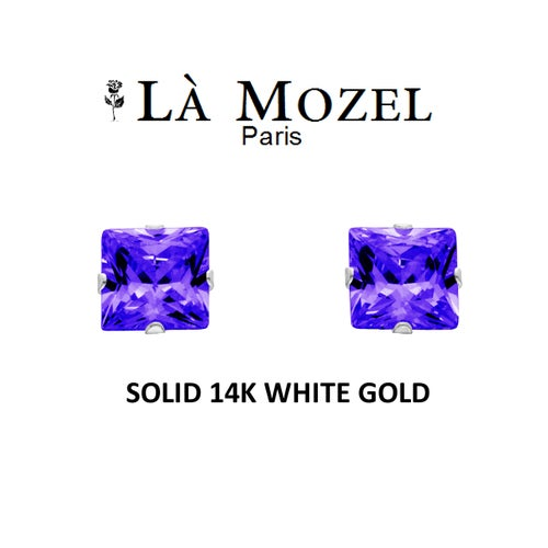 Luxury Solid 14K White Gold Classic Elegant HandCrafted Princess Cut Stud Earrings Featuring Genuine Purple Stone- 4MM