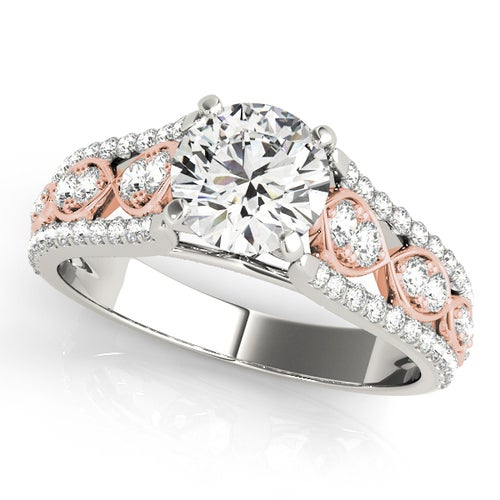 Two-tone Infinity CZ Ring White Gold and Rose Gold Plated Women Engagement Wedding Ring #989
