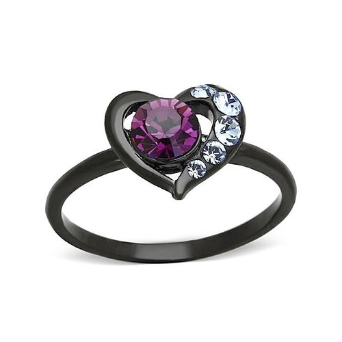 Women Black Gold Purple AAA CZ Heart Ring #743