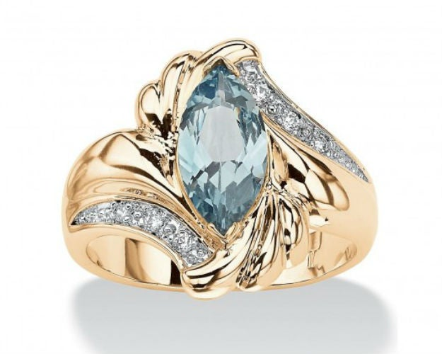 Stunning Yellow Gold Plated Extreme Sparkle Marquise Band