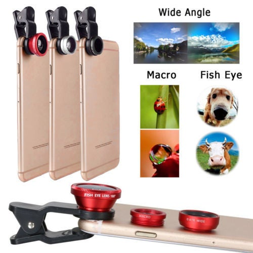 3in1 Fish Eye Lens + Wide Angle + Macro Lens Camera Kit For iPhone 7 Plus 6S 6 5S SE 6S iPad Samsung S2 S3 S4 S5 Note2 Note3HTC
