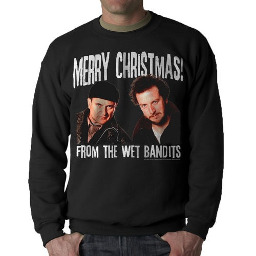 Home Alone Merry Christmas Wet Bandits Men's Black Sweatshirt