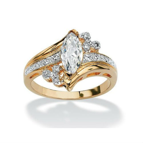 YGP Classic Style Marquise Cut CZ Cluster Engagement / Wedding Ring