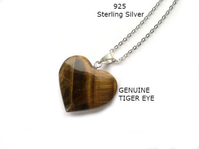 Sterling Silver Chain Genuine Tiger Eye Stone Heart Necklace