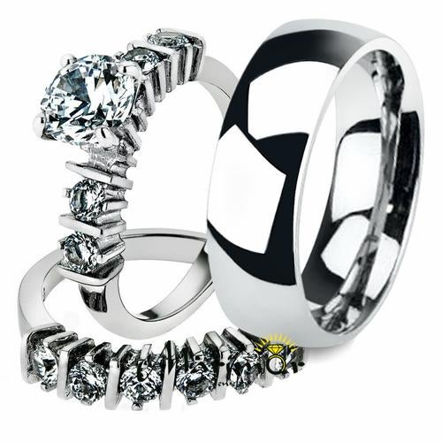 His & Her 3pc Stainless Steel 2.38 Ct Cz Bridal Set & Men's Classic Wedding Band