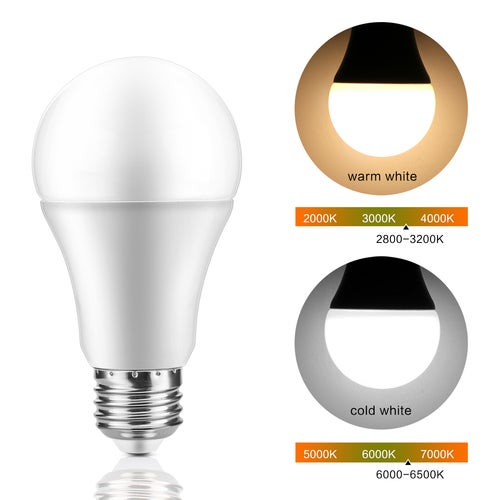 7W E27 LED Sensor Light Bulb Automatic Dusk to Dawn Bulbs Auto ON/OFF for Porch Hallway Patio Garage Warm White