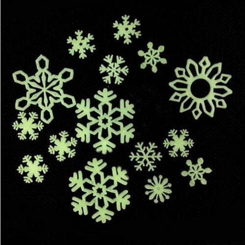 12pcs Snowflake Stickers Rooms Wall Glow Decoration